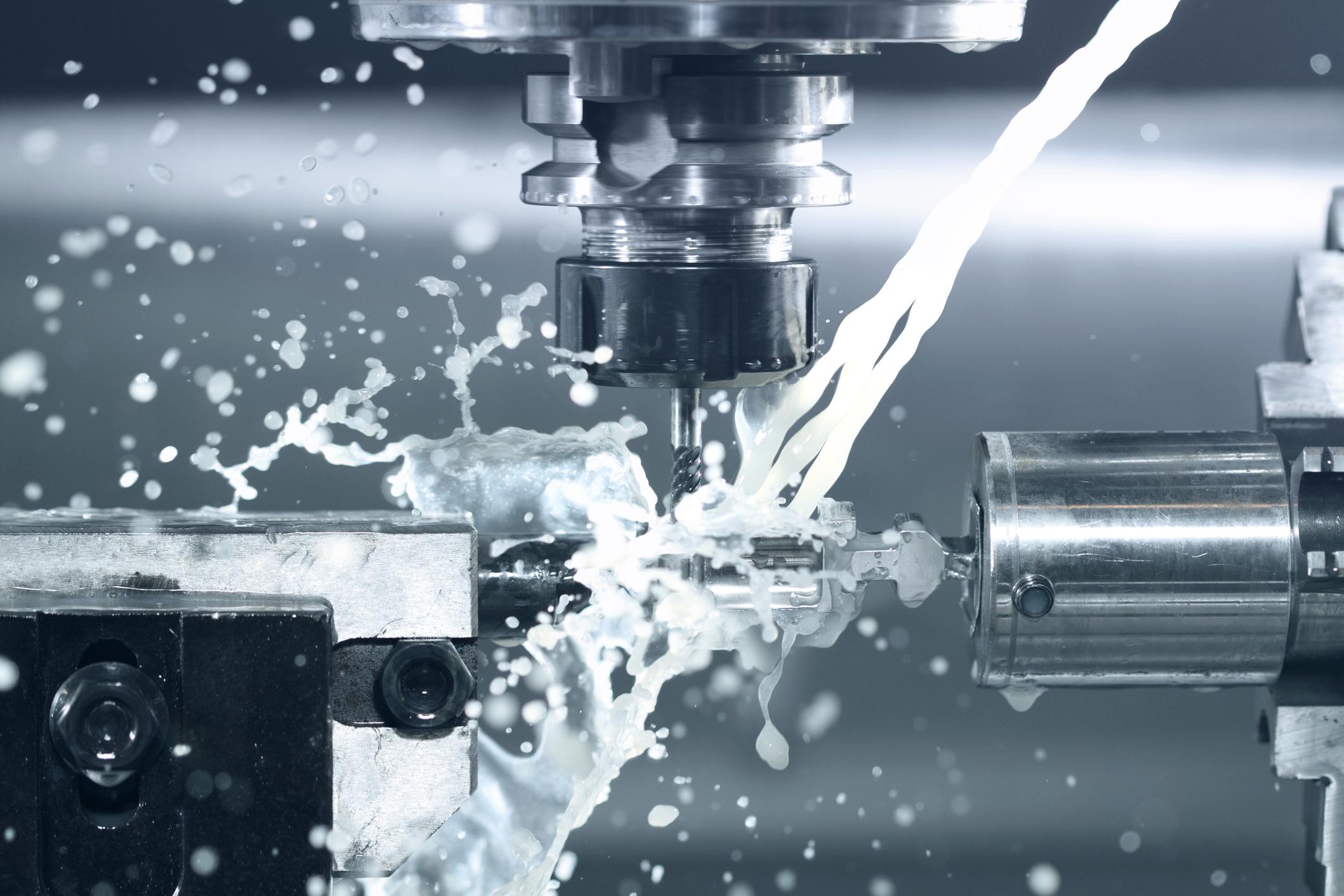 Close up of CNC machine processing